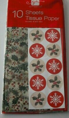 Beautiful Christmas Tissue Paper 8 Sheets Various Design Wrapping Gift Wrap