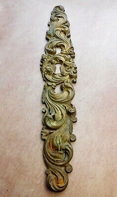 Key Hole Escutcheon Plate Tall Ornate Scroll Work Bright Brass Cast Metal A253