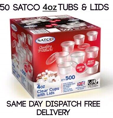 Satco Heavy Duty 16oz Clear Chutney Container With Lids Sauce//Deli//Pots//Desserts