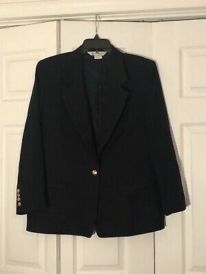 Austin Reed Blue Worsted Wool Blazer Gold Buttons Size 8 34 99 Picclick