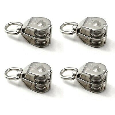 M15 Wire Rope Double Pulley Block 304 Stainless Steel Roller Pulley Bearing R...