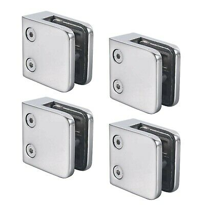 4pcs of Polished 316 Stainless Steel Glass Clamps Mounting Balustrade Post Br...