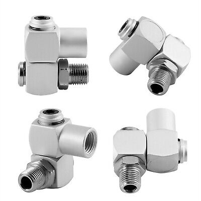 4Pcs 360 Degree Universal Swivel Air Hose Connector 1/4'' Inch Air Adapter To...