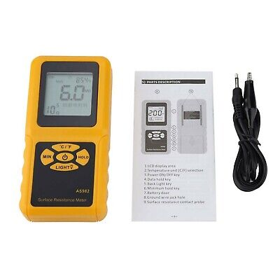 Portable Earth Resistance Tester, 103~1012Ω, Surface Resistance Meter, Backli...