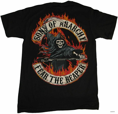 Sons Of Anarchy Fear The Reaper Flamed Logo Adult T-shirt Vintage Men Gift Tee