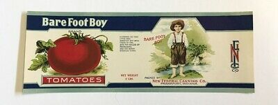 RILEY BAREFOOT BOY TOMATOES Tin Can label FRANKFORT INDIANA ORIGINAL UNUSED J.W