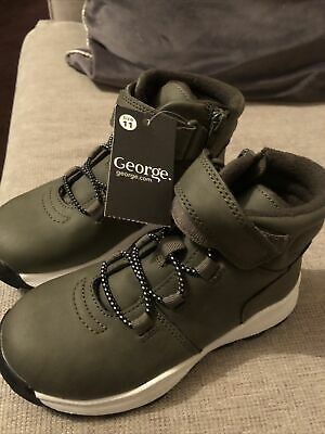 George Asda Infant  Boys Boots Grey Sporty Hiker Boots Junior Size Uk 11 New