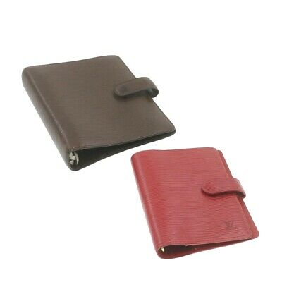 LOUIS VUITTON Epi Agenda PM MM Day Planner Cover Red Brown LV Auth cr693