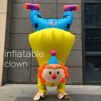 Handstand Clown Inflatable Costume Adult Funny Blowup Outfit Cosplay Party Dres