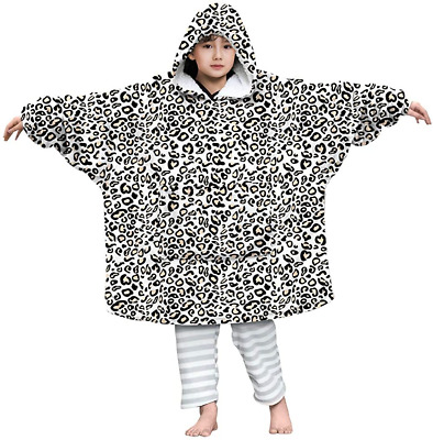 Lovekider Blanket Sweatshirt Boys Front Pocket Leopard Ultra Soft Roomy Bathrobe