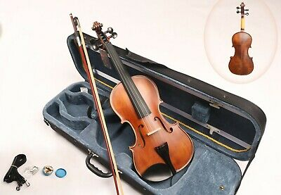 Solid REAL Flamed Maple Spruce 4/4 Full Size Fiddle Violin Case Bow Rosin String