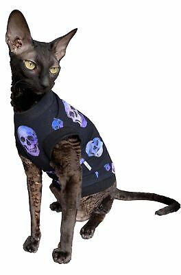Kotomoda Hairless Cat's cotton stretch T-shirt Purple Sculls for Sphynx Cats ...