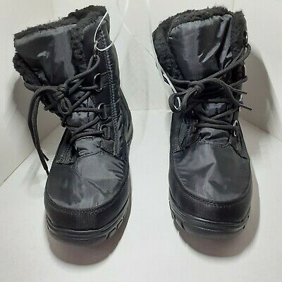 Details about  /Kamik Rival Womens Snow Boots Waterproof Thinsulate Black Gray Faux Fur Sz 8 9