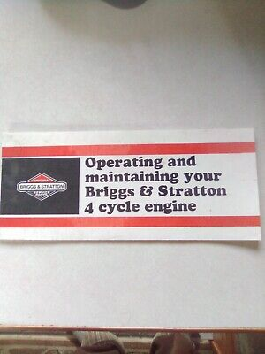 Operating And Maintaining Your Briggs & Stratton 4 Cycle Engine Manual