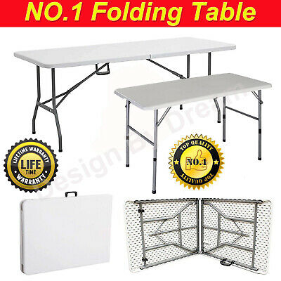 4ft Heavy Duty Folding Catering Trestle Camping BBQ Party Garden Portable Table