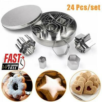 7x Biscuit Cutters Cookie Cutter Set Stainless Steel Baking Pastry Slicers Mold