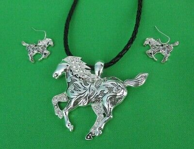 NEW Pendant and Earring Set Silver Tone Running Horse w/Crystals Magnet Function