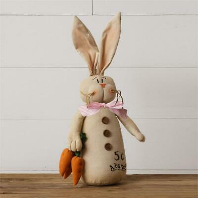 """Primitive AGED BUNNY RABBIT Doll Selling Carrots Stuffed 18"""" Tall Rustic Country"""