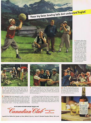 SWISS BOWLING bowlers ALPS photos Canadian Club Whisky 1949 Print Ad
