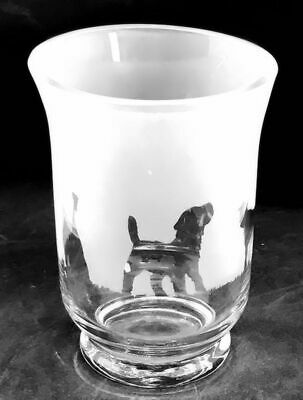 BORDER TERRIER Frieze 14.5cm Glass Vase / Hurricane Lantern