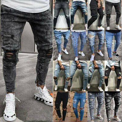 UK Men Skinny Ripped Jeans Trousers Casual Slim Fitness Stretch Denim Pants New.