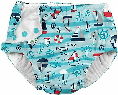 i play by green sprouts Boys Reusable Swim Diaper 24mo Navy Lobster Stripe