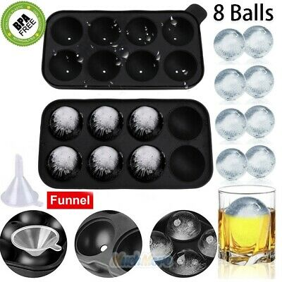 Round Ice Cube Ball Maker Tray Silicone Sphere Mold Bar Whiskey Cocktails Funnel