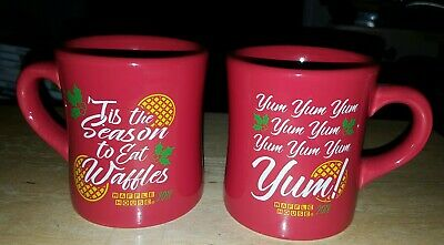 (2) Waffle House Coffee Mugs/Cups By Tuxton Holiday/Christmas Heavy Thick Red