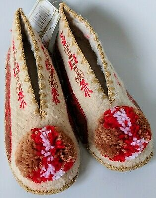 Luxury Unisex Woollen Pompom Slippers EU42 UK8 Gryffindor House Colours Beautiful Embroidery Detailing Leather Sole Traditional Greek Gift
