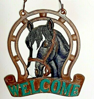 Vintage Cast Iron Equestrian Welcome Sign Horse Motif