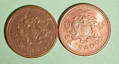 1998 + 2005 Barbados One Cents - INV# L-61