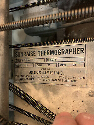"""Sunraise Thermographer: Table top thermographer , 72"""" x 18"""" x 13"""""""