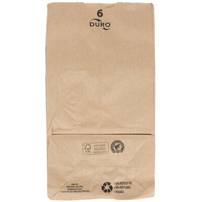 "500 Pack 6 Lb Brown Disposable Paper Grocery Bags Standard 6"" W x 11 1/16"" H"