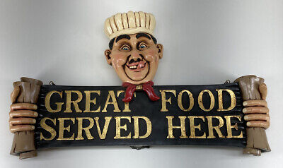 Rare Vintage Restaurant Grade GREAT FOOD SERVED HERE SIGN