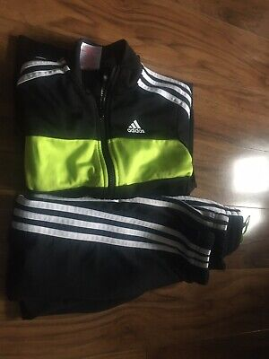 Boys Adidas Black/Green  Tracksuit age 7/8