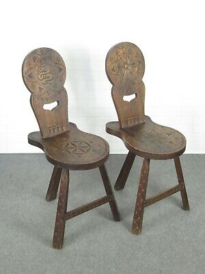 2 Chairs Carved Wood Decoration Renaissance Period Xx Century