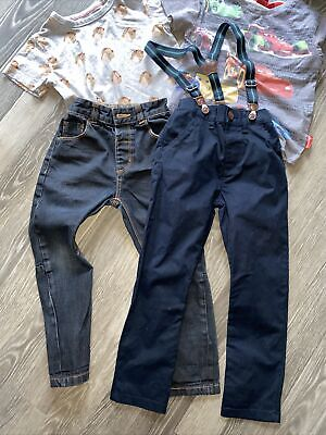 Boys Age 3-4 Jeans Chinos Braces Bundle -4 Items T-Shirt Blue Next