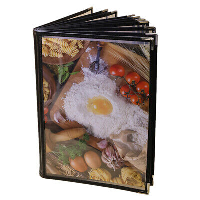 Transparent Restaurant Menu Covers for A4 Size Book Style Cafe Bar 10 Pages H3K6