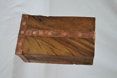 Reclaimed Victorian oak and hammered copper doorstop polished with linseed oil