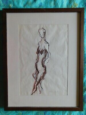 ERNESTO TRECCANI DISEGNO A CHINA NUDO - ink drawing. naked woman