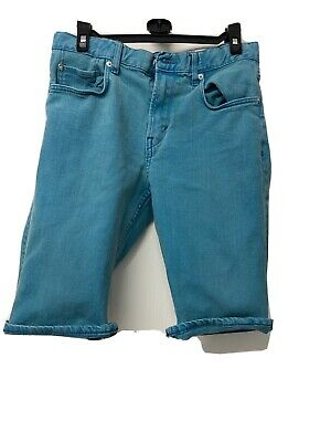 BOYS SHORTS AGE 11/12 YEARS 152cm From H&M In Blue/Green Denim, Adjustable Waist
