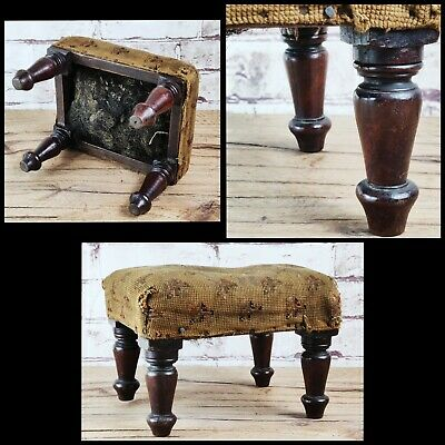 Small Antique Victorian Footstool English Needlepoint Tapestry Stool Turned Legs