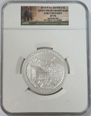 2014 P Great Smoky Mountains America the Beautiful 5 Oz Silver Coin SP70 NGC ER