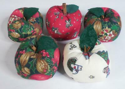 "Decorative Apples Hand-Crafted from Cloth Fabric, Lot of 5, ~4"" Round"