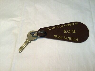 Key and Fob from B.O.Q. Brize-Norton Key stamped WW18, made in Birmingham, Engla