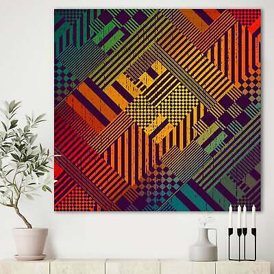 Designart 'Grungy Geometric abstract in Green, Yellow and  Small