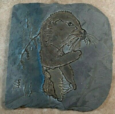 Otter Laser Engraved on Slate Lazer creations pacific grove california