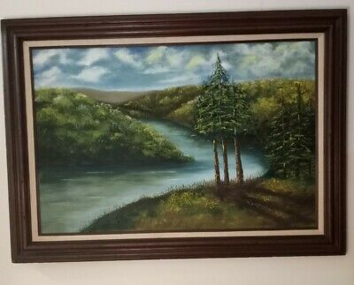 P. ANDREWS LANDSCAPE OIL PAINTING. REALISM 24x36 Canvas 1980 Signed and Framed