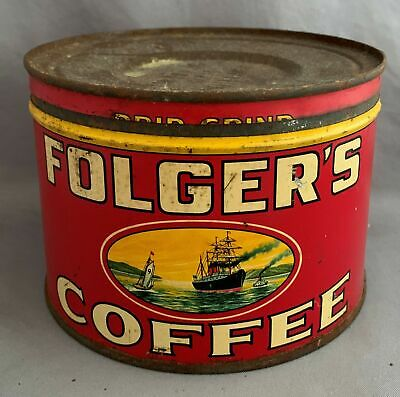 Vintage Folgers Golden Gate Coffee Tin 1 Lb. Can with Lid -Yellow Lilies on Back