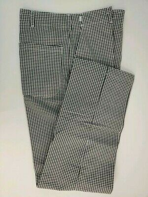 Chef Pants Black White Checker Waist 30 32 Snap Flat FrontHospitality Hotel
